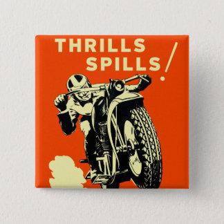 Retro Vintage Motorräder läuft Thrills-Flecken Quadratischer Button 5,1 Cm
