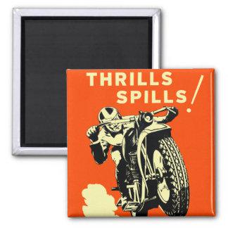 Retro Vintage Motorräder läuft Thrills-Flecken Quadratischer Magnet