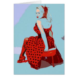 Retro Vintage Rocker-Dame im Polka-Punkt-Kleid Karte