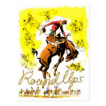 Retro Vintage Rodeo-Cowboy-Zusammenfassung Postkarte