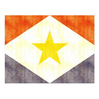 Retro Vintage Saba Flagge Postkarte