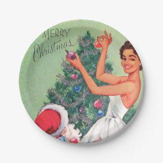 Retro Vintage Weihnachtsfrau Sankt-Partyplatte Pappteller