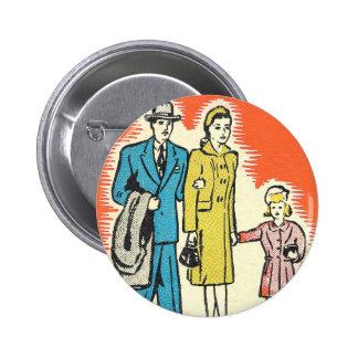 Retro Vintager 50er Familien-Knopf Runder Button 5,7 Cm