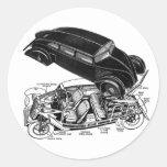 Retro Vintager Autodreißiger jahre Hinter-Motor Runder Aufkleber
