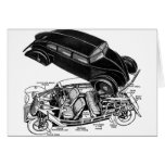 Retro Vintager Autodreißiger jahre Hinter-Motor fu Grußkarten