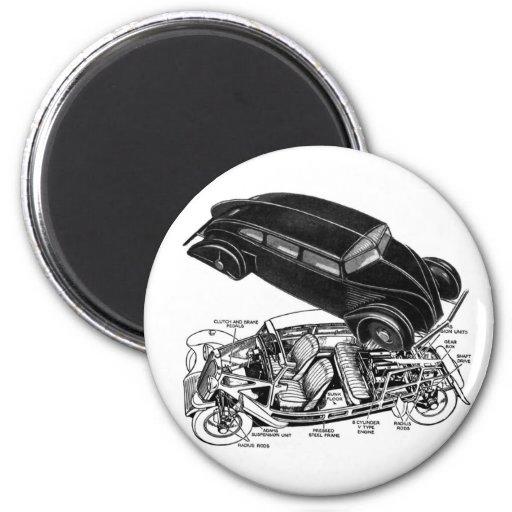 Retro Vintager Autodreißiger jahre Hinter-Motor fu Magnete