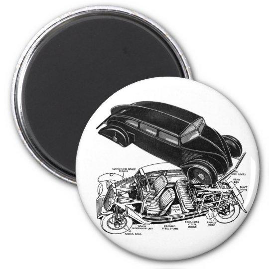 Retro Vintager Autodreißiger jahre Hinter-Motor fu Runder Magnet 5,7 Cm