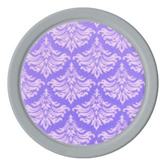 Retro Vintager Damast-Brokat blühen Lavendel Poker Chips Set