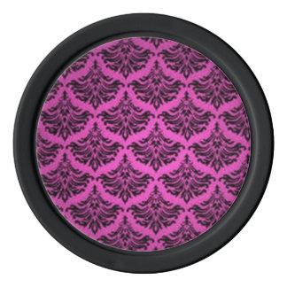 Retro Vintager Damast-Brokat blühen rosa Schwarzes Poker Chip Set