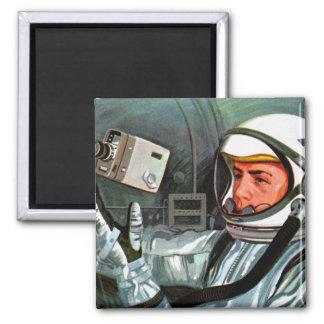 Retro Vintager die Kitsch NASA-Astronauten-Superka Quadratischer Magnet