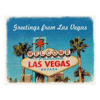 Retro Vintager Gruß von fabelhaftem Las Vegas Postkarte