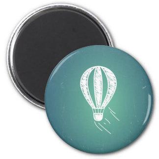 Retro Vintager Heißluft-Ballon-Türkis-Hintergrund Runder Magnet 5,7 Cm