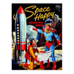 Retro Vintager Kitsch-60er Raum-glückliches Farbto Postkarte