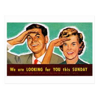 Retro Vintager Kitsch, der Sie am Sonntag sucht! Postkarte