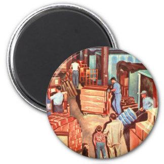Retro Vintager Kitsch-Jahr-Werksleiter-Vati Runder Magnet 5,7 Cm