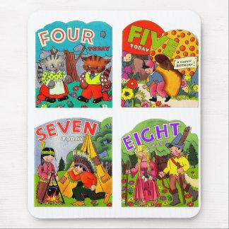 Retro Vintager Kitsch-Kindergeburtstag kardiert Mousepads