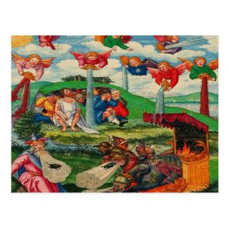 Retro Vintager Kitsch-mittelalterliche Pest-Ratten Postkarte