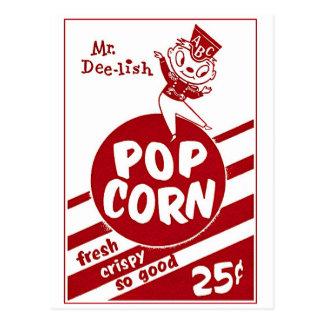 Retro Vintager Kitsch-Popcorn-Herr Dee-lish Postkarte
