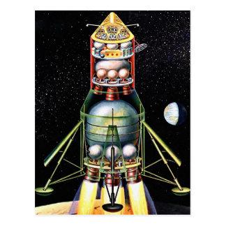 Retro Vintager Kitsch Sci FI-Mondmodul Postkarte