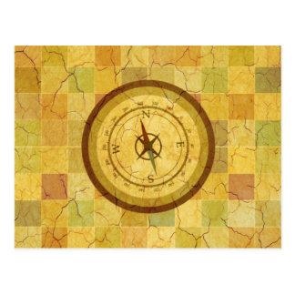 Retro Vintager mehrfarbiger Kompass-Entwurf Postkarte