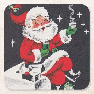 Retro Vintager Party-Untersetzer Weihnachtssankt Rechteckiger Pappuntersetzer