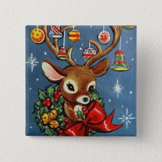 Retro Vintager Ren Weihnachtsfeiertagsknopf Quadratischer Button 5,1 Cm