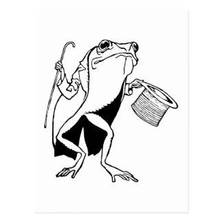 Retro Vintager schwarzer u. weißer Herr-Frosch Postkarte