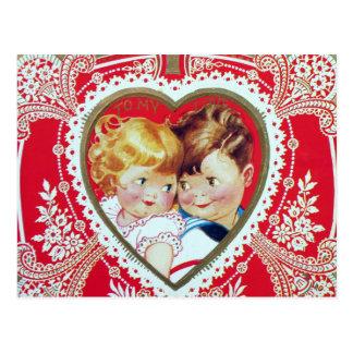 Retro Vintager Valentine scherzt Postkarte