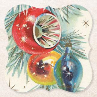 Retro Vintager Weihnachtsbirnen-Party-Untersetzer Untersetzer