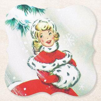 Retro Vintager Weihnachtsdamen-Party-Untersetzer Untersetzer