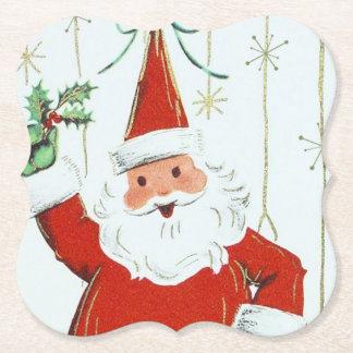 Retro Vintager Weihnachtssankt-Party-Untersetzer Untersetzer