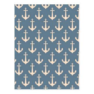 Retro Vintages blaues weißes Anker-Muster Postkarten