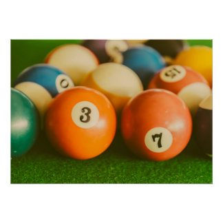 Retro Vintages buntes Pool-Ball-Plakat Poster