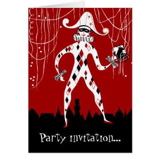 Retro Vintages Harlekinclown Confetti-Party Karte