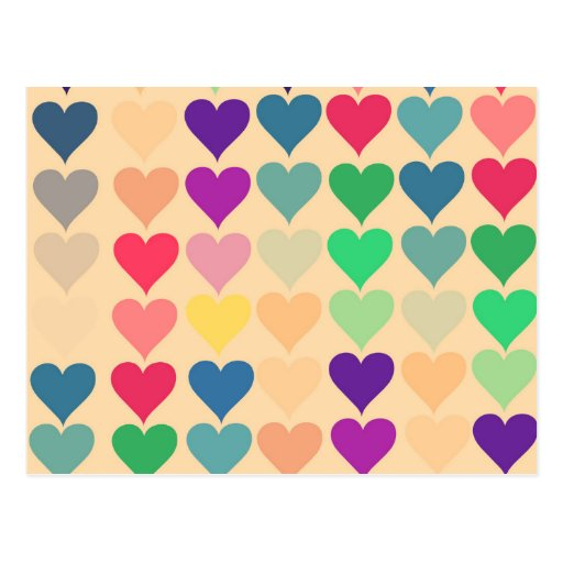 Retro Vintages Herz deckte das bunte Herzmuster Postkarte