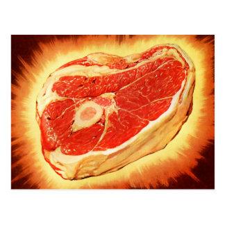 Retro Vintages Kitsch-Rindfleisch-Steak-Abendessen Postkarte