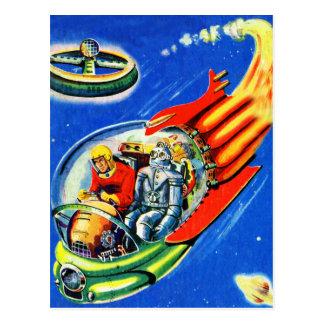 Retro Vintages Kitsch Sci FI-Raumfahrt-Raumschiff Postkarte