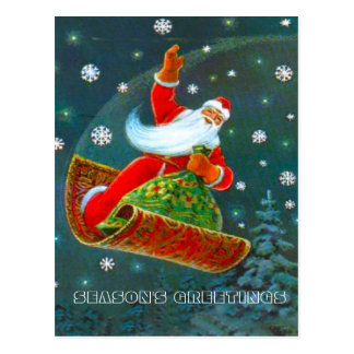 Retro Vintages Weihnachten, Sankt magischer Postkarte