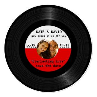 Retro Vinylaufzeichnung Ihr Foto Save the Date Individuelle Einladungskarten