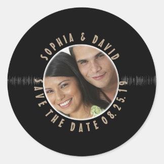 Retro Vinylaufzeichnungs-Hochzeit FOTO SAVE THE Runder Aufkleber