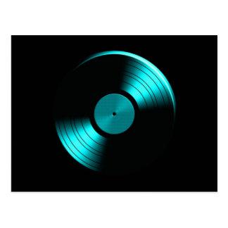 Retro Vinylrekordalbum in aquamarinem Postkarte