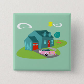 Retro Vorstadthaus-Quadrat-Knopf Quadratischer Button 5,1 Cm