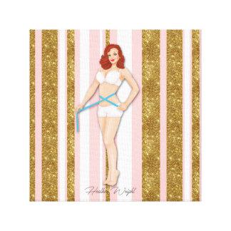 Retro Weightloss Pinup, Glitter-Rosa Leinwanddruck