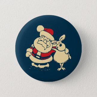 Retro Weihnachten Sankt und sein Ren-Freund Runder Button 5,7 Cm