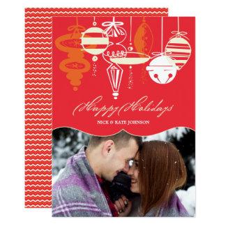 Retro Weihnachten verziert Zickzack Feiertags-Foto Karte