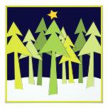 Retro Weihnachtsbaum-Feiertags-offenes Haus-Party Personalisierte Einladungskarten
