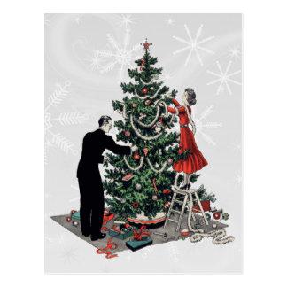 Retro Weihnachtsbaum Postkarte