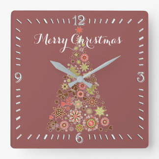 Retro Weihnachtsbaum-Quadrat-Wanduhr Quadratische Wanduhr