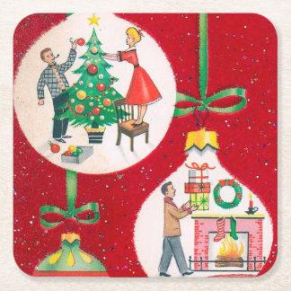 Retro Weihnachtsbirne Feiertags-Party-Untersetzer Rechteckiger Pappuntersetzer