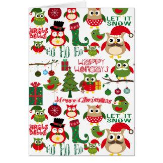 Retro Weihnachtseulen-Muster Karte